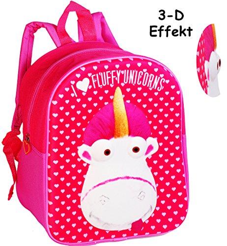 alles-meine.de GmbH 3-D Effekt _ Kinder Rucksack -  Einhorn Fluffy - Minions - Ich einfach unverbesserlich  - Tasche - wasserfest & beschichtet - Kinderrucksack / groß Kind - M..