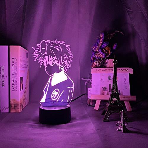 Anime Hunter X Hunter LED noche luz Killua Zoldyck figura luz nocturna cambio de color USB batería mesa 3D lámpara regalo para niños