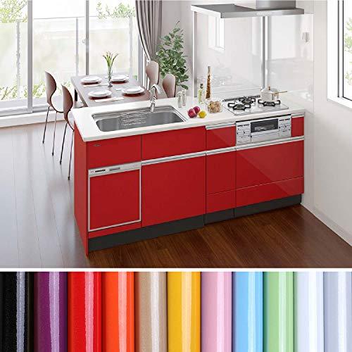 KINLO selbstklebende Folie Küche Rot 80x500cm (4㎡) aus hochwertigem PVC Küchenschränke Küchenfolie Klebefolie Tapeten Küche wasserfest Aufkleber für Schrank Möbelfolie Dekofolie MIT GLITZER