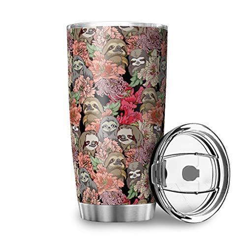 Mobiliarbusshi Vaso de 20 onzas y flor 18/8 de acero inoxidable doble pared taza con tapa botella deportiva vaso vaso taza blanco 600 ml