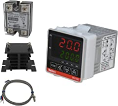 Twidec/ MV100-B10 Fahrenheit & Centigrade Digital Display PID Temperature Controllers Thermostat AC 85V - 265V with K Sensor Thermocouple with Heat Sink and 40A Solid State Relay SSR 40DA
