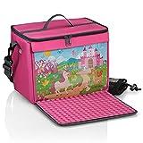 fantifant Bolsa de bloques de construcción con placa de construcción plegable, color rosa princesa, tamaño XL, compatible con grandes bloques de construcción como Lego Duplo   Incluye bolsa de red