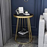 Kays Side Table Coffee Table End Table Coffee Table Round Sofa Table Iron Art Tea Table Marble Side Table 2-Shelf End Table with Metal Legs Snack Table for Living Room Home Office (Color : Black)
