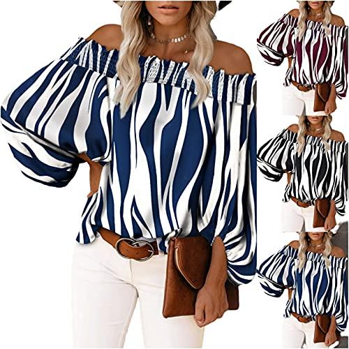 Camiseta sin tirantes para mujer con mangas de nueve cuartos, moderna y elegante, de manga larga, para invierno y otoño, para mujer, azul, XL