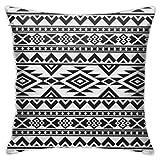 Bue Time Funda de Almohada para sofá Dormitorio Coche Patrón Azteca Étnico Boho Elegante Abstracto Motivos Populares Negro Blanco Tribal Perú