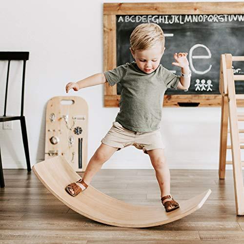 FUNNY SUPPLY Wooden Balance Board Wobble Board Preschool Learning Kid Yoga Board Curvy Board Rocker Board Montessori Toy 35 Inch Kid Size Wooden Style