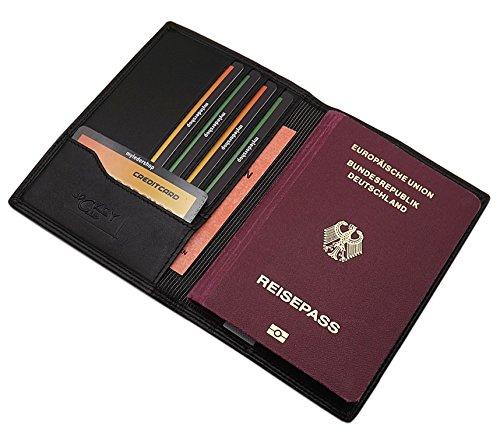 Echt Leder Reisepass Passport Schutzhülle mit 5 Scheckkartenfächern in Schwarz