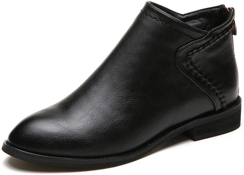 IINFINE Women's Chunky Heel Cutout Bootie -Comfy Pionted Toe Boots