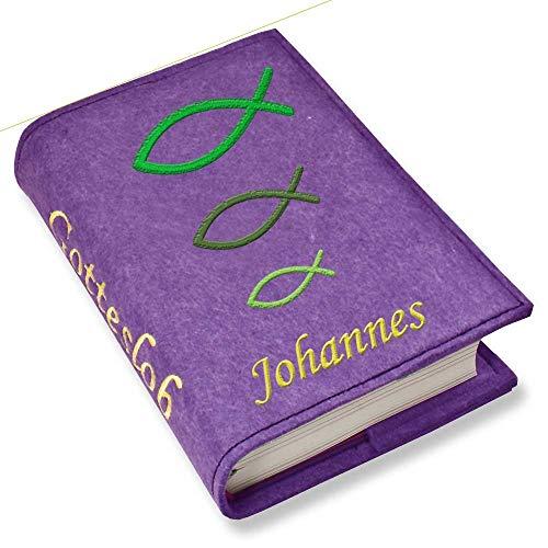 Gotteslob Gotteslobhülle Hülle Fische grün Filz mit Namen bestickt Einband Umschlag personalisierte Gesangbuchhülle, Farbe:lila