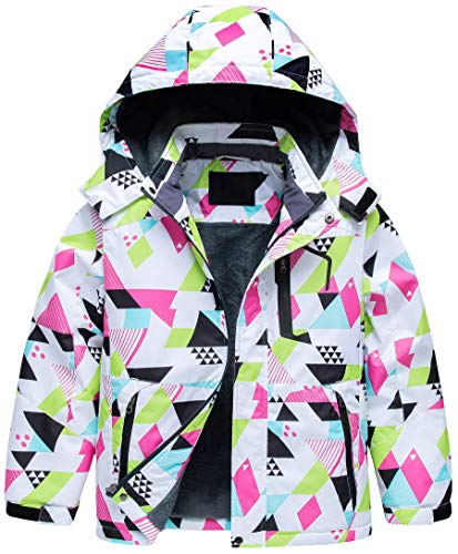 Kids Insulated Ski Jacket Waterproof Breathable Insulated Shell with Hood Winter Outerlayer 14/16