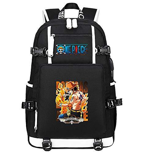 ZZGOO-LL One Piece Monkey·D·Luffy/Portgas·D· Ace Mochila con para Mujer, Mochila de Viaje Suave, Mochila para Escuela, Notebook, Mochilas para niñas con USB-B