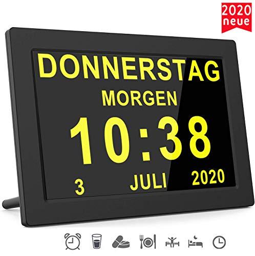 [2020 Version] 16 Alarme Digitaler Wecker Kalender Tag Uhr Für Demenz sehschwachen Gelesen Werden Kinder Senioren Sehschwache und Alzheimer Patienten (Schwarz)