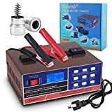 Kawish Full Automatic Car Battery Charger 12V/24V 10Amp Intelligent Pulse Repair Battery Charger Truck Motorcycle Charger with Terminal Clean Brush