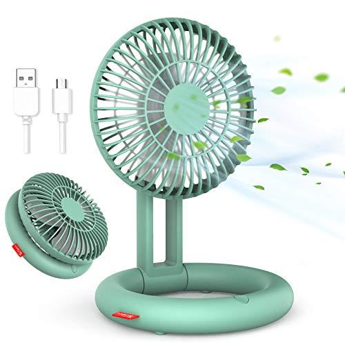 Klappbarer Tischventilator, TESECU Mini USB Ventilator, 3 Geschwindigkeiten 90 ° Einstellbarer USB Lüfter, tragbare und aufhängbare persönliche Ventilatoren für Home Office Outdoor(Grün)