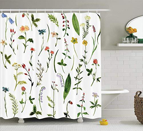 QAQ Starry Sky douchegordijn aquarel bloem andere soorten bloemen en kruiden onkruid planten pet natuur element print stof badkamer decoratie