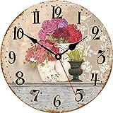 Toudorp Reloj de Pared de Madera con diseño de Flores en jarrón, Reloj de Pared de 14 Pulgadas, Funciona con Pilas, silencioso, Redondo, fácil de Leer, números arábigos, Reloj Decorativo