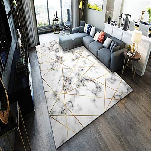 SONGHJ Moderner Teppich Mit Einfachem Marmormuster, Rechteckiger Rutschfester Teppich Aus Polyester, Dekorationsteppich Für Das Wohnzimmer