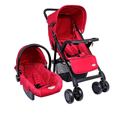 1st Step Baby Travel System - Baby Pram Cum Stroller Cum Car Seat/ 5 Point Safety Harness/Link Break/ 3 Position Seat Recline/Adjustable Leg Rest/Peek-a-Boo Window/Reversible Handle Bar - Red