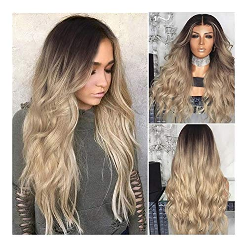 Lange Golvende Synthetische Lace Front Wig Lijmloze High Temperature Hittebestendige Vezel Haar Pruiken For Vrouwen 26 Inches (Color : Gold)