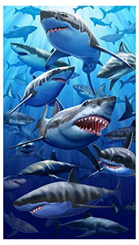 Gigante gran tiburón blanco playa y toalla de baño (40x 70cm)