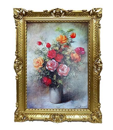 Lnxp Bild Foto 90x70 cm Blumen P. Sorel Bilderrahmen Bilder mit Rahmen barock Wandbild Kunstdrucke...