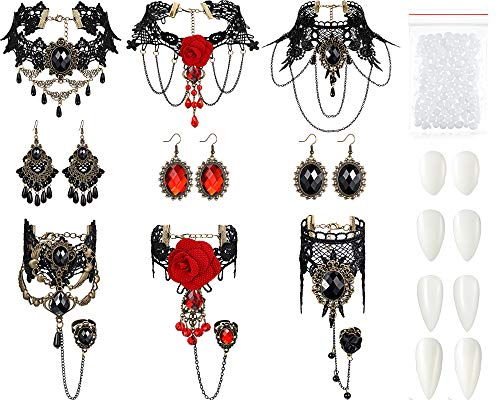 13 Stücke Halloween Vampir Zähne Vampir Halsreif Ohrringe Armbänder Gothic Modeschmuck für Viktorianische Vampir Halloween Party, Zombie Cosplay Party Zubehör