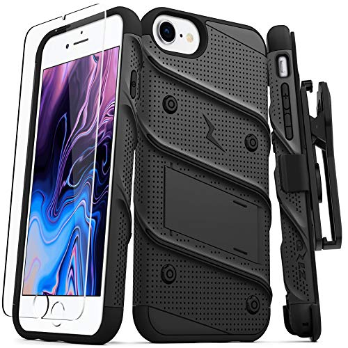 ZIZO Bolt Series for iPhone SE (2020) / iPhone 8 / iPhone 7 Case with Screen Protector Kickstand Holster Lanyard - Black & Black