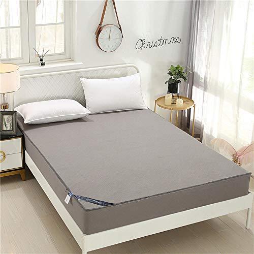 GTWOZNB Protector de colchón - óptimo antiácarosSábana Impermeable Cubierta Completa en Relieve 3D-Gray_150cm * 200cm