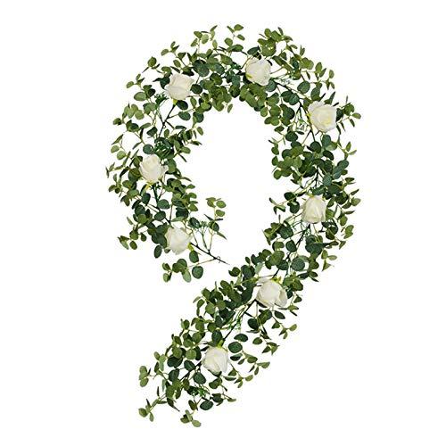 CJFael Vid artificial falso de 185 cm, flor artificial de Camellia, hoja de dinero, vid, hogar, jardín, boda, decoración de ventana, jardín, boda, fiesta, decoración, color crema blanco