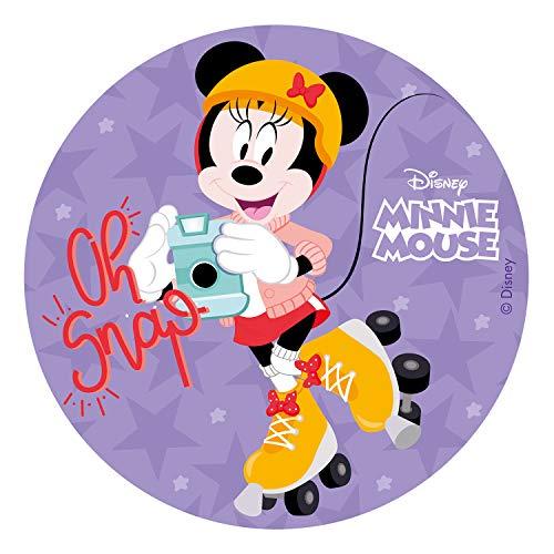 Dekora 236036 Minnie Mouse Tortenaufleger aus zuckerfreiem Esspapier-20 cm, 20 cm