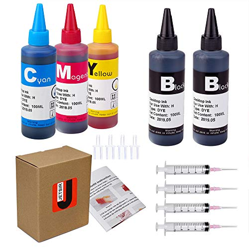 JetSir 4 Color Ink refill kit for HP 950 951 932 933 60 61 952 902 901 62 63 21 22 920 940 934 564 711 970 971 94 95 96 Ink Cartridges, (2 Black 1 Cyan 1 Magenta 1 Yellow) 100ML x5 Bottle,with Syringe