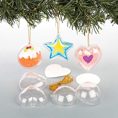 Baker Ross EX2982 Adornos Colgantes Transparentes para el Árbol de Navidad: Suministros...