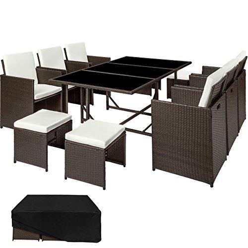 TecTake Set di mobili da giardino poli rattan arredamento set | 6 Sedie + 1 Tavolo + 4 Sgabelli | Involucro protettivo | - disponibile in diversi colori - (Marrone antico | no. 402830)