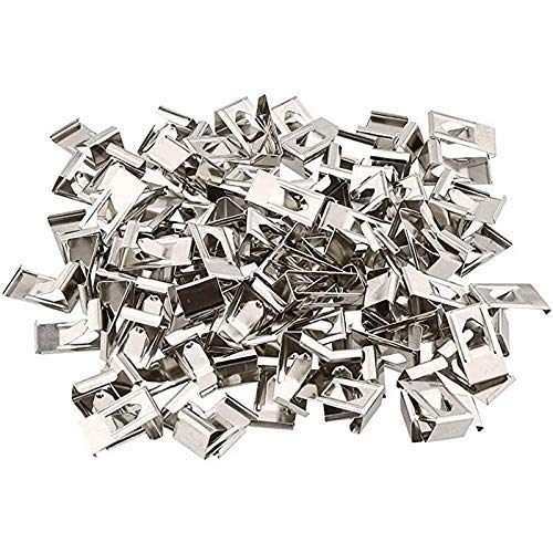 FMTZZY 500 Pcs 3D Printer Glass Bed Clips Swiss Metal Small Picture Photo Frame Spring Turn Clip Hanger Silver Tone 26mmx14mm
