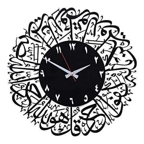 Ramadan Große Retro-Wanduhr aus Metall,Eid Mubarak Muslimischer Islam Ramadan Dekorationen,Adventskalender Countdown Schublade Für Muslim Festival DIY,Islamische Rund Ramadan Uhren Dekor (Schwarz)