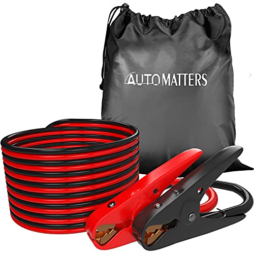 Jumper Cables 1 Gauge 30 Feet, Automatters Heavy Duty Booster Cables with Carry Bag, Jump Start Dead or Weak Batteries for Car (1AWG x 30FT)