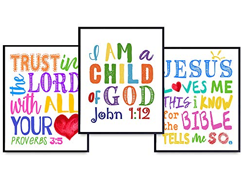 Jesus Loves Me - Trust in the Lord With All Your Heart - Child of God Wall Decor - Religious Scripture Wall Decor - Catholic Christian Gifts for Women, Kids, Pastor, Minister - Bible Verse Wall Art