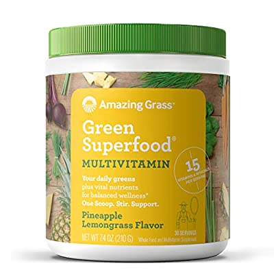 Amazing Grass Green Superfood Multi-Vitamin: Organic Plant Based Multi-Vitamin Powder packed with 15+ Vitamins & Minerals, Immune Support, Pineapple Lemongrass Flavor, 30 Servings,7.4 Ounce (1 Count)