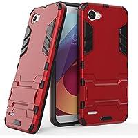 MaiJin Funda para LG Q6 / Q6 Plus (5,5 Pulgadas) 2 en 1 Híbrida Rugged Armor Case Choque Absorción Protección Dual Layer Bumper Carcasa con Pata de Cabra (Rojo)