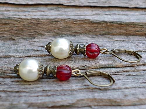 Zierliche Vintage Ohrringe mit böhmischen Glasperlen/Glaswachsperlen - creme, cremeweiß, ivory, bordeaux, weinrot & bronze