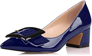 Eldof Pointed Toe Pumps,Classy 2 Inches Block Heel Chic Pumps, Confort Buckle Heel for Office Wedding Dress