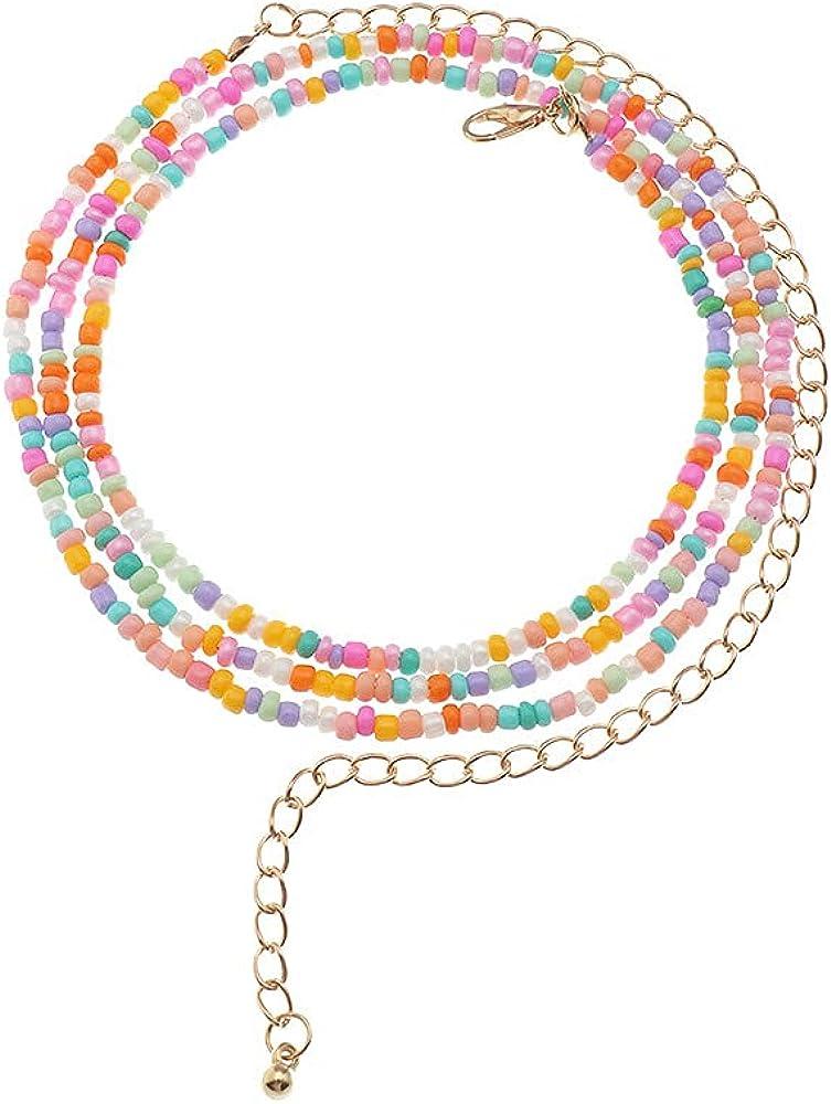 COLORFUL BLING Beads Waist Chain Set African Belly Chain Elastic Weight Loss Body Chain Summer Beach Vacation Bikini Body Jewelry Women Girls