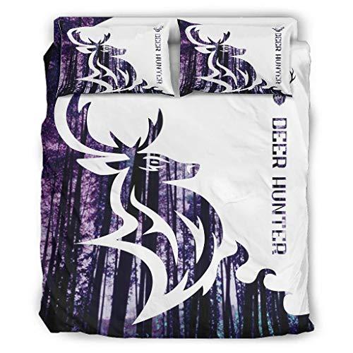 Sunlitrend Juego de ropa de cama de 4 piezas con diseño de ciervos, de lujo, ligero, resistente a la luz, para el dormitorio en casa, color blanco, 228 x 264 cm
