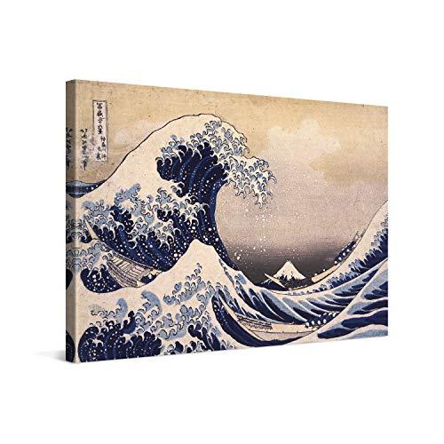 PICANOVA – Katsushika Hokusai – The Great Wave off Kanagawa 60x40cm – Quadro su Tela – Stampa Incorniciata con Spessore di 2cm Altre Dimensioni Disponibili Decorazione Moderna – Arte Classica
