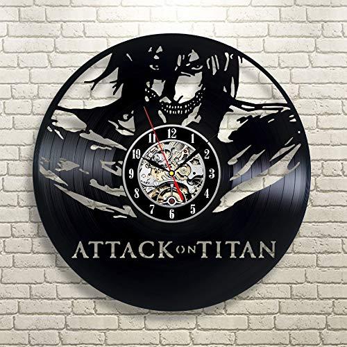 CVG Attack on Titan Reloj de Pared Levi Gift Vinyl Vintage Decor Home Room 12 Pulgadas (30 cm)