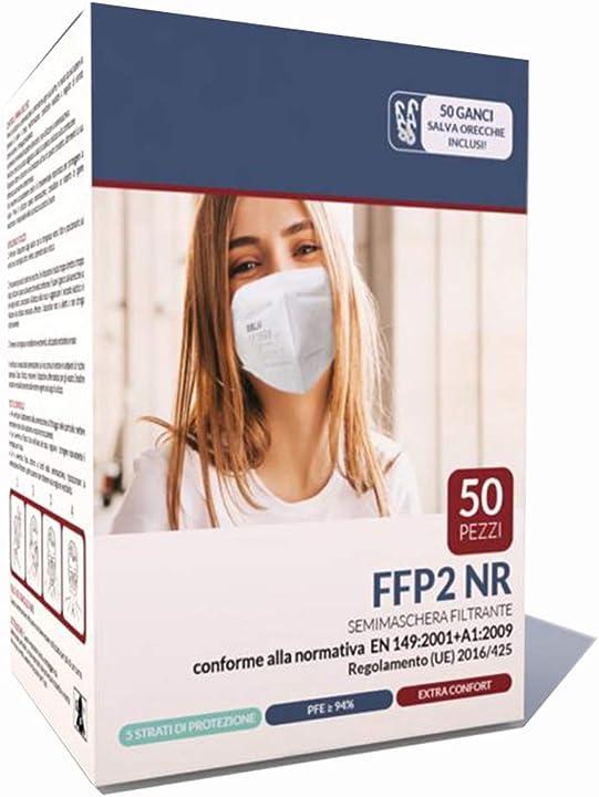 eslh mascherine ffp2 50 pezzi certificate ce 0598 en 149:2001 + a1:2009 filtrazione 94% 20001