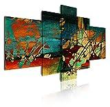 DekoArte 53 - Cuadros Modernos Impresión de Imagen Artística Digitalizada   Lienzo Decorativo Para Tu Salón o Dormitorio   Estilo Abstracto Moderno Colores Verde Azul Ocre Rojo   5 Piezas 180x85cm XXL
