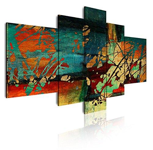DekoArte 53 - Cuadros Modernos Impresión de Imagen Artística Digitalizada | Lienzo Decorativo Para Tu Salón o Dormitorio | Estilo Abstracto Moderno Colores Verde Azul Ocre Rojo | 5 Piezas 180x85cm XXL