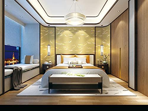 BLZQA 3D Papel tapiz Fotográfico pez dorado Mural Salón Dormitorio Despacho Pasillo Decoración murales decoración de paredes moderna 200x150 cm-4 panelen