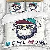 Juegos de Fundas nórdicas Grin Hat Cool Monkey Chimpanzee Gafas de Sol vestidas Hipster Cap Iniciales Wildlife Sketch Diseño Divertido Ropa de Cama de Microfibra con 2 Fundas de Almohada